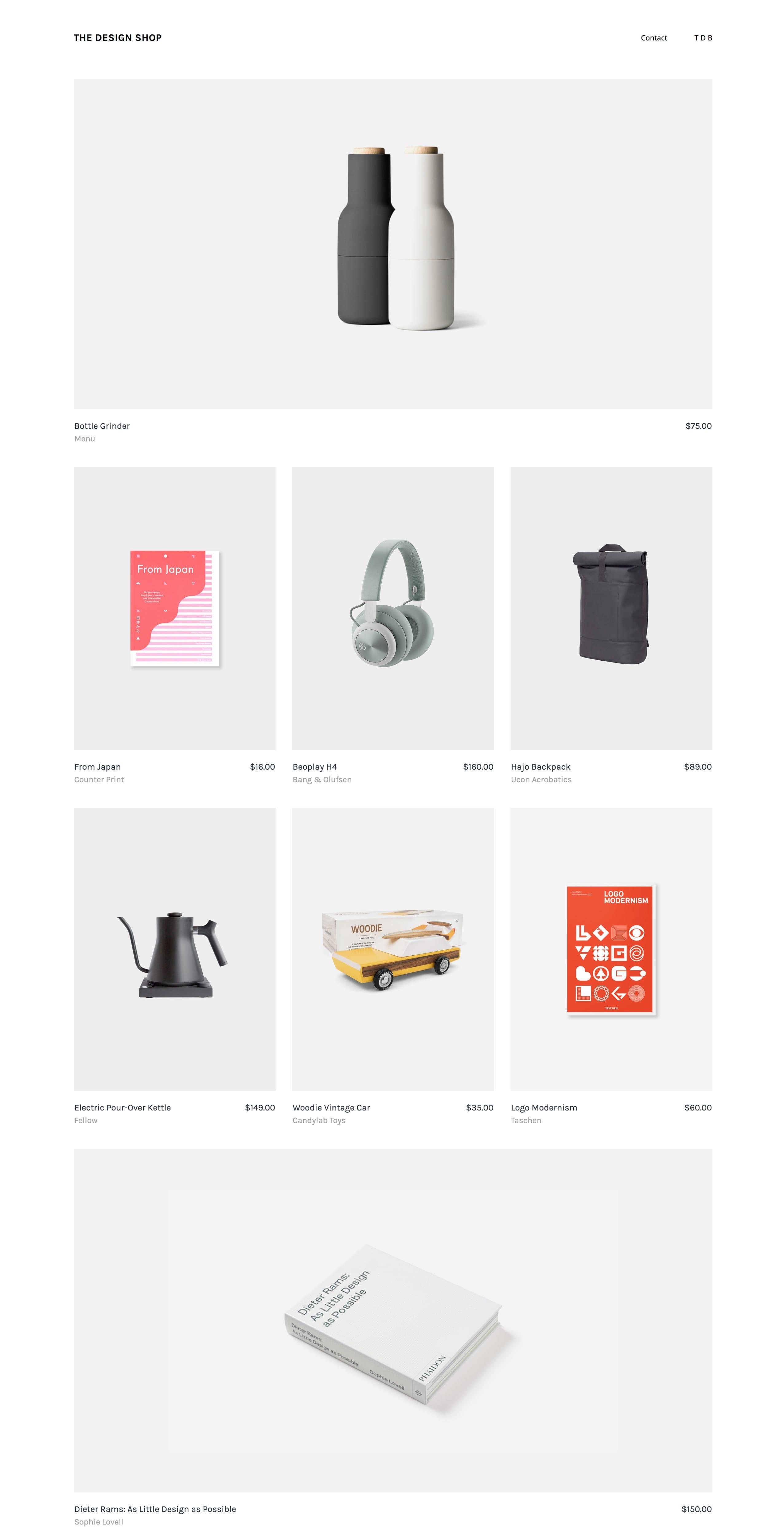 Design shop landing page