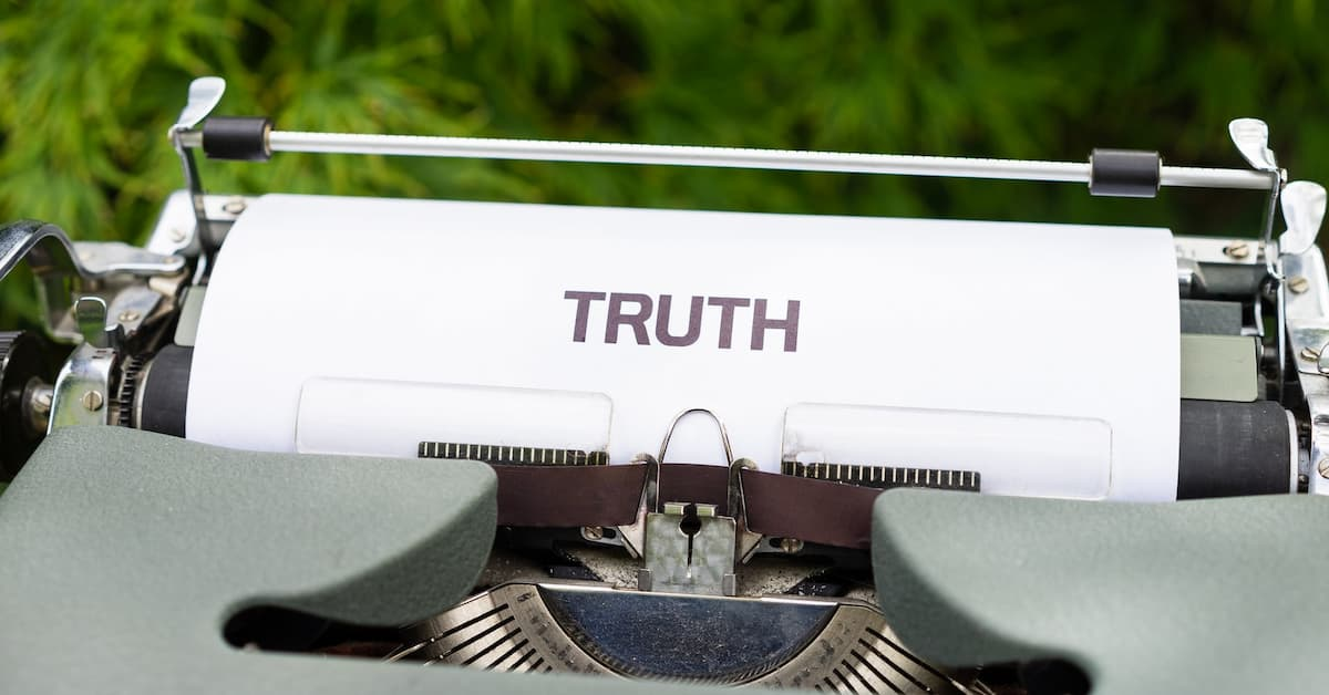 Typewriter showing the word truth instead of absolutes