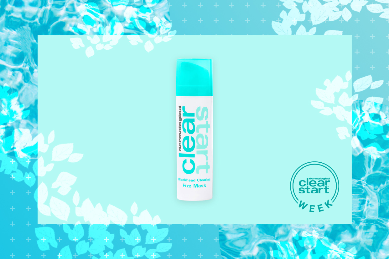 Dermalogica Clear Start Blackhead Clearing Fizz Mask on teal background