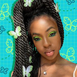 Jaleesa Jaikaran's green butterfly makeup look
