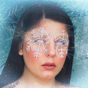Karrissa Lynn snowflake makeup on snowflake background