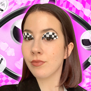 Checkered eye makeup on a pink checkered background