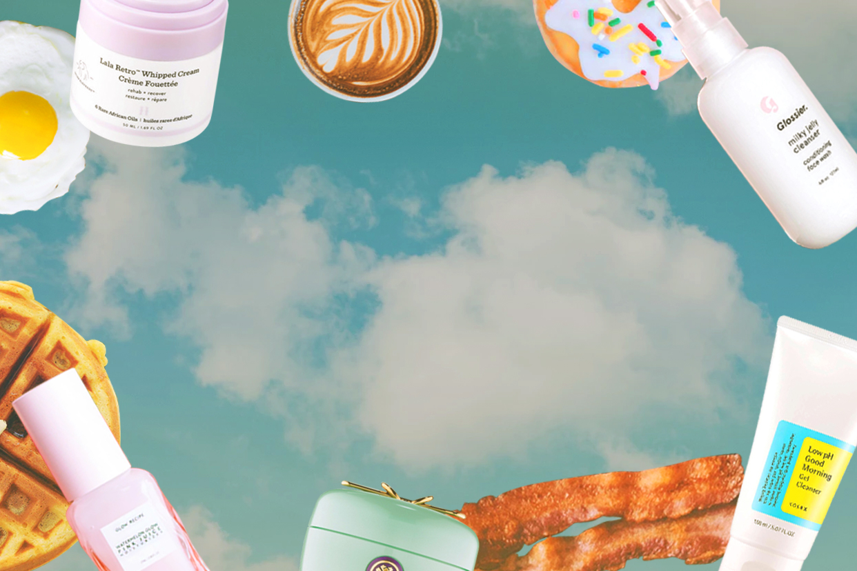 Breakfast foods including eggs, bacon, waffles, and coffee flying through the air alongside skincare products including cleanser and moisturizer.
