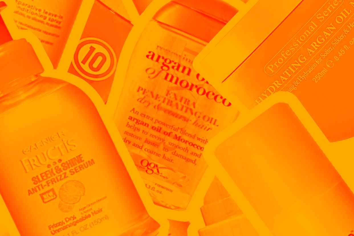 Hair oils and leave in conditioners on an orange background