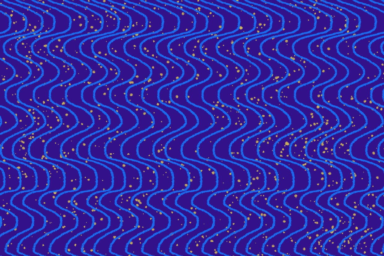 Wavy blue lines on a purple background