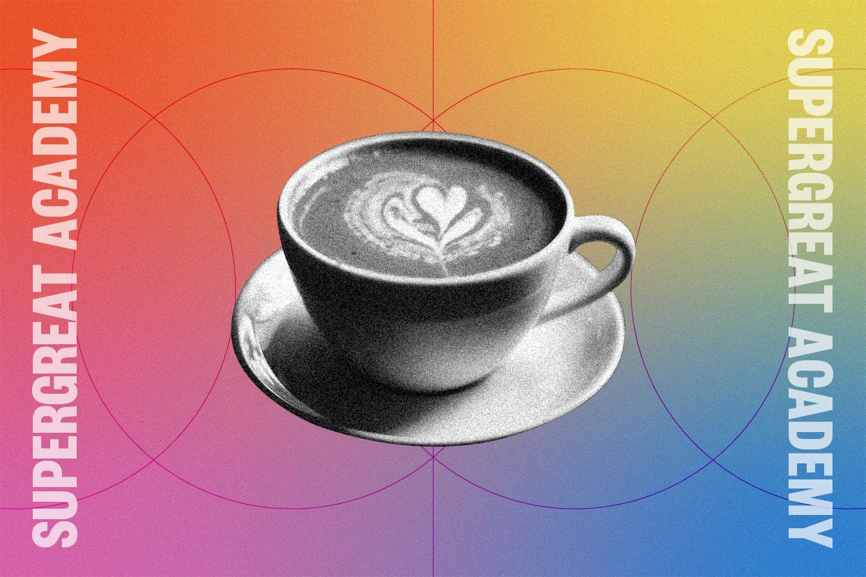 Cup of coffee on a rainbow background