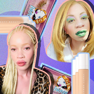 People with albinism surrounded by beauty products