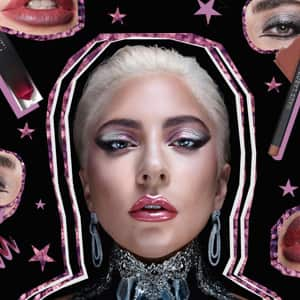 Lady Gaga surrounded by her products and parts of her face