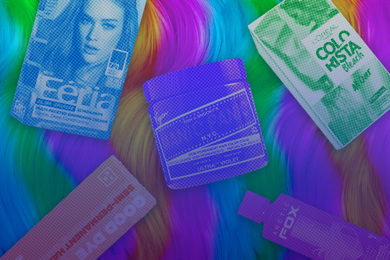 hair dye products for colorful hair on a rainbow background