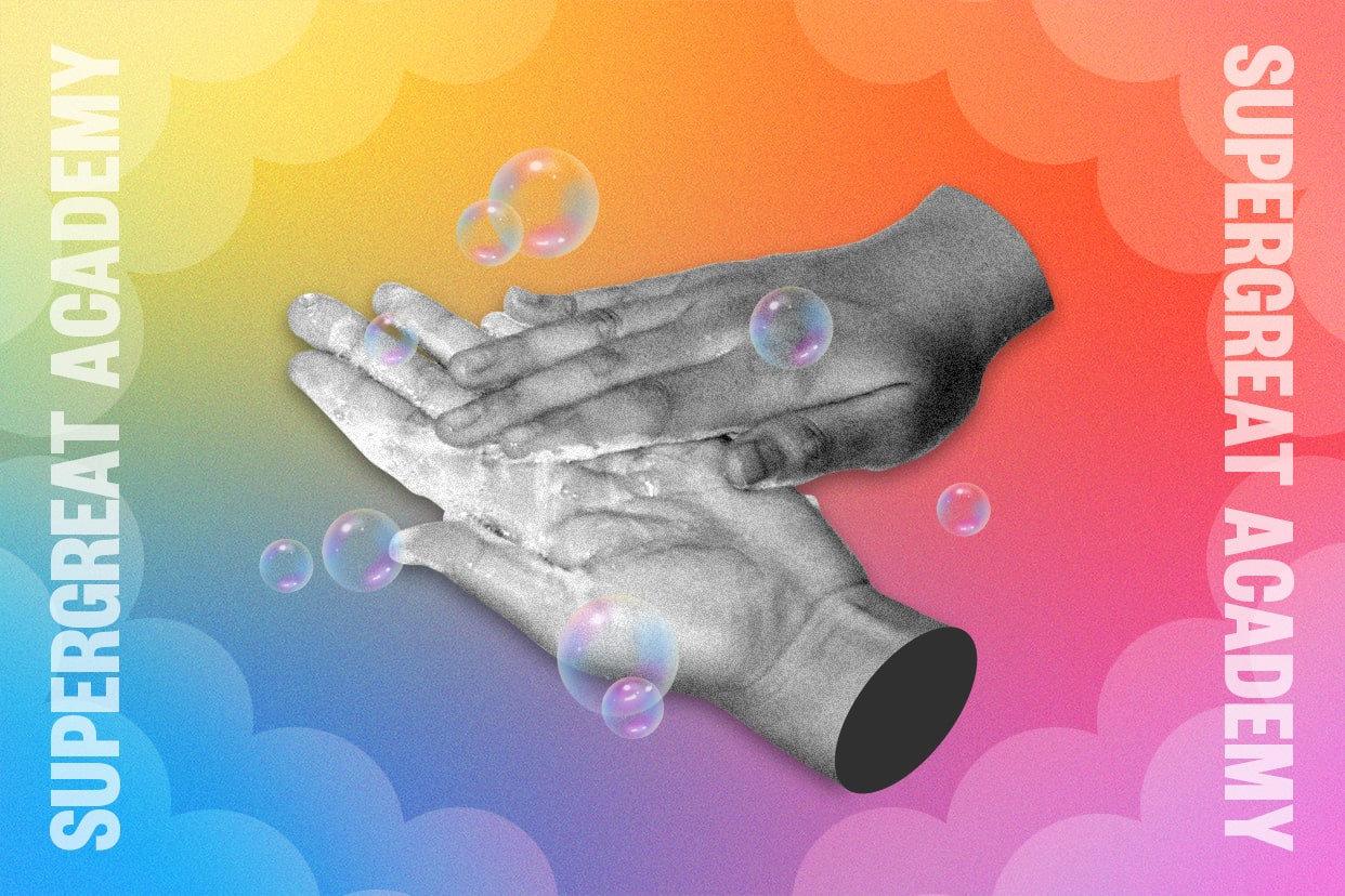 How to wash your hands on a rainbow background