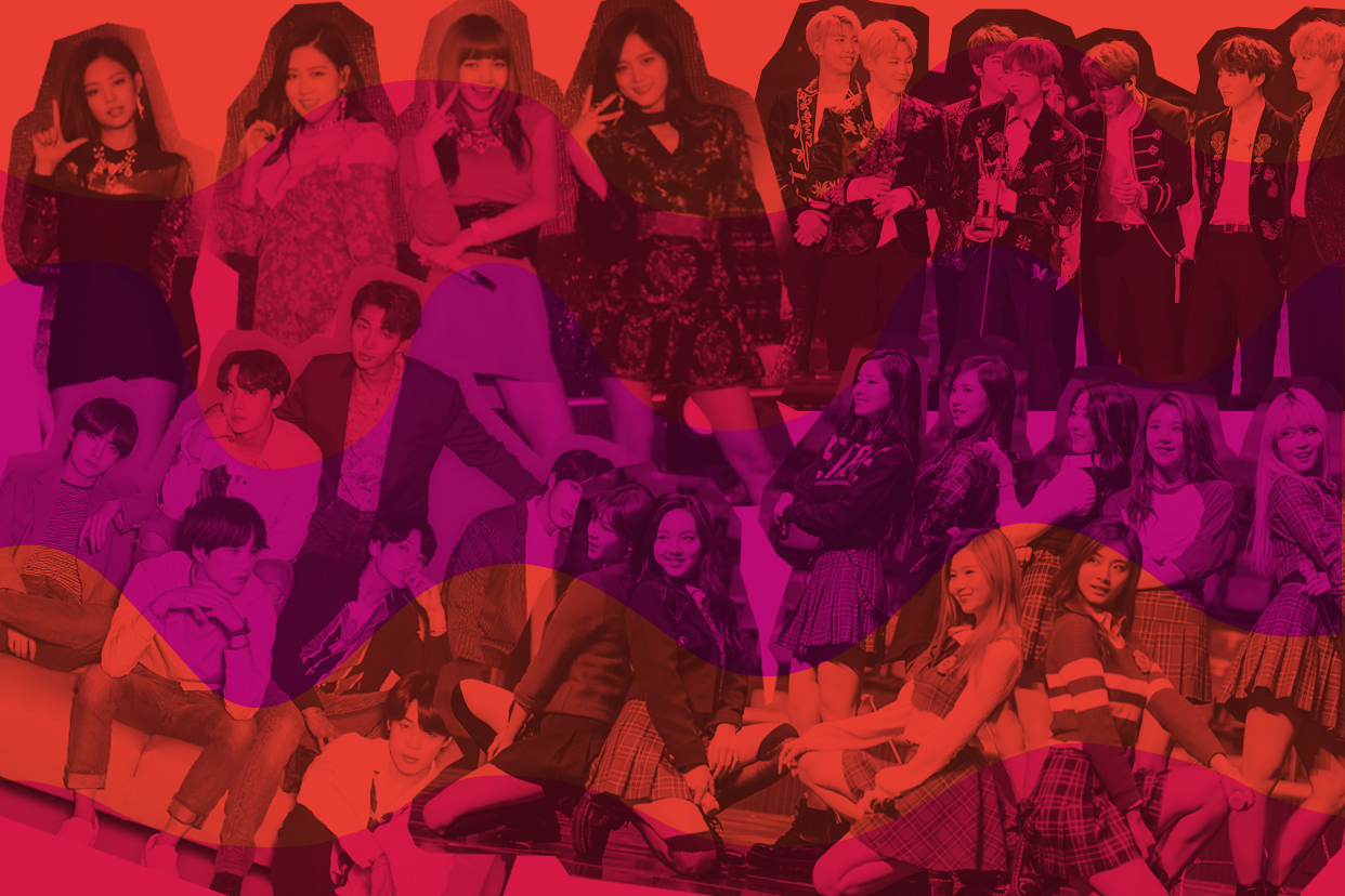 Cutouts of members of K-pop groups on a pink background