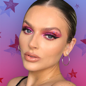 Makeup artist Landyn Harrison in a hot pink glitter eye look