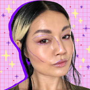 Beauty writer Sable Yong in glitter makeup