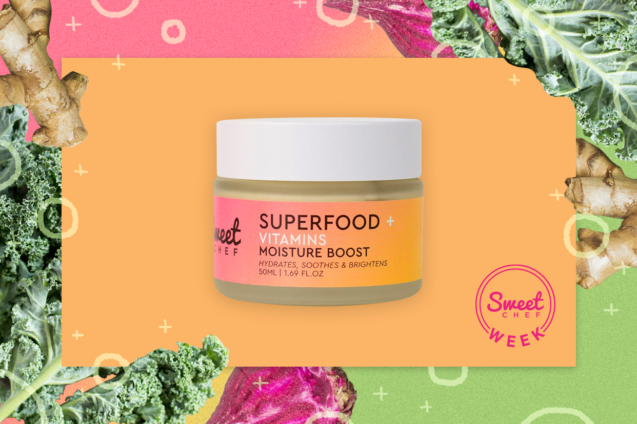 Sweet chef superfood moisturizer surrounded by superfoods