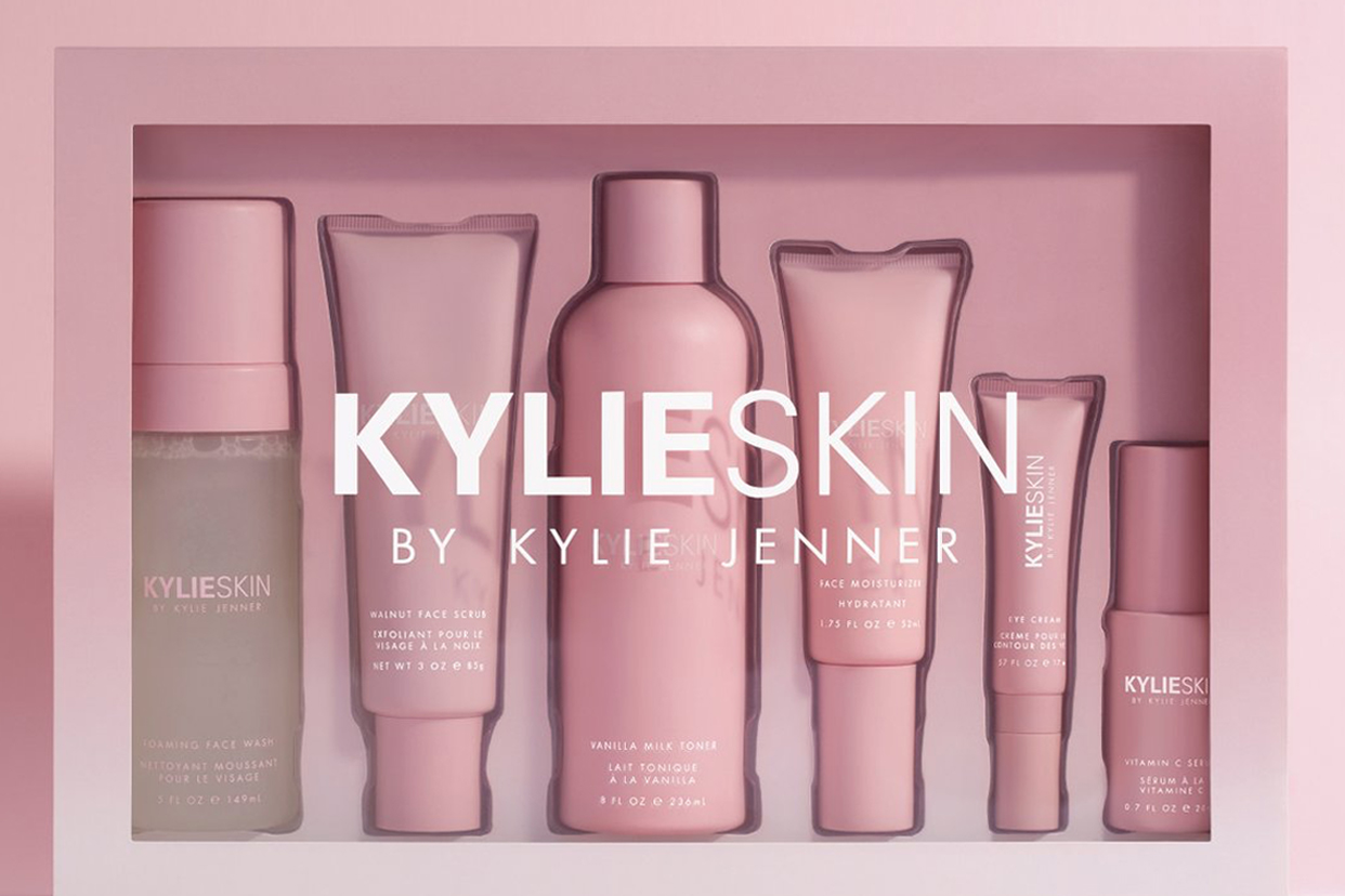 The KylieSkin product line in it's millennial pink packaging
