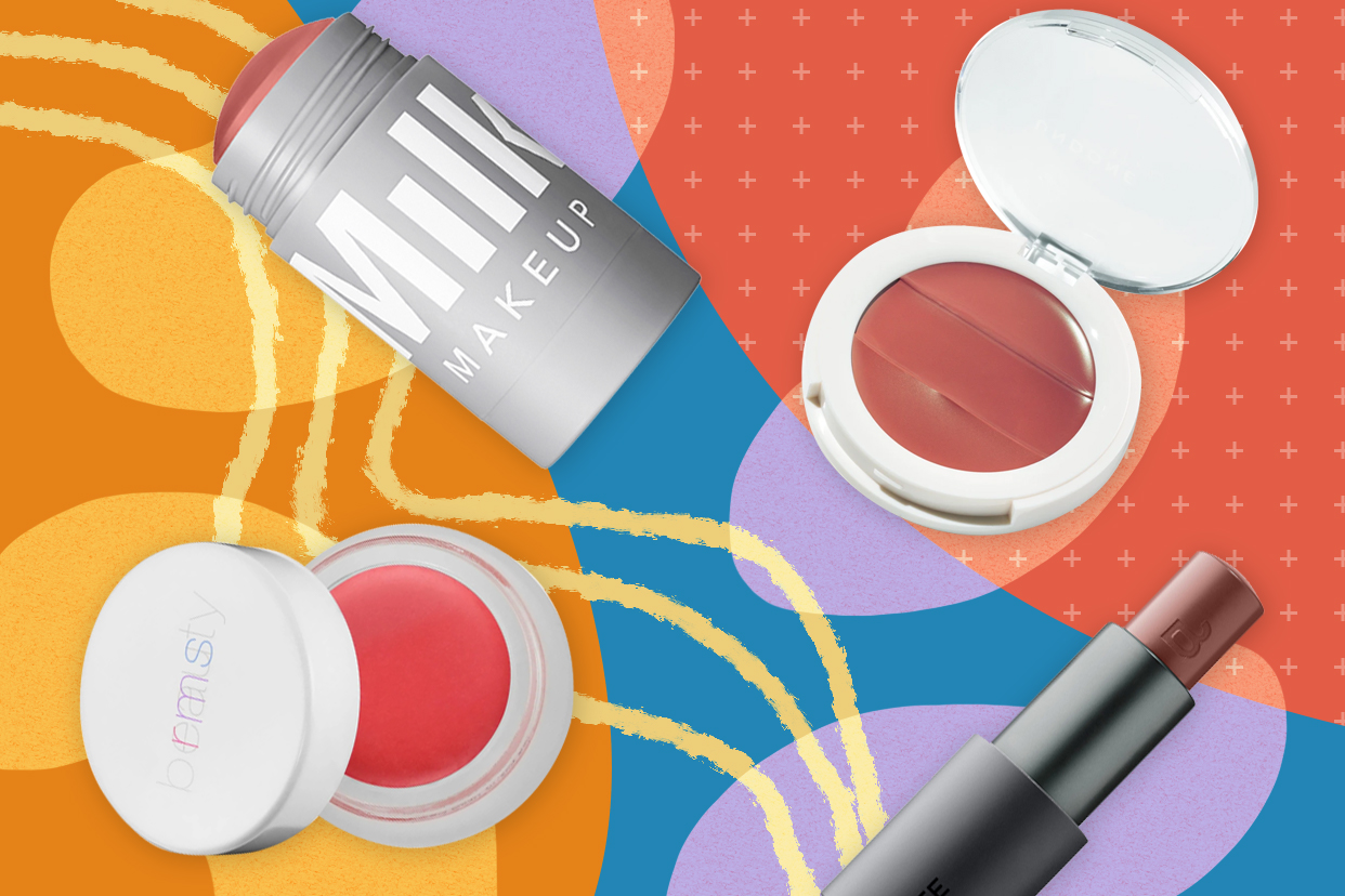 Lip and cheek products on a colorful background