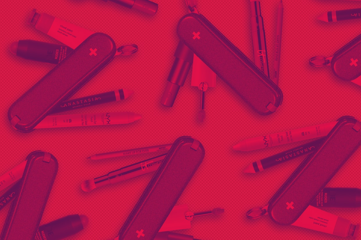 A Swiss army knife equipped with makeup products