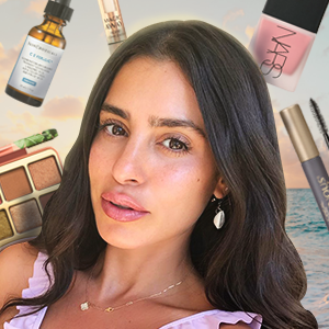 Influencer Nicole Isaacs surrounded by her favorite products