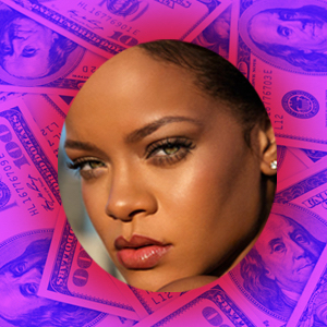 Photo of Rihanna over $100 bills background