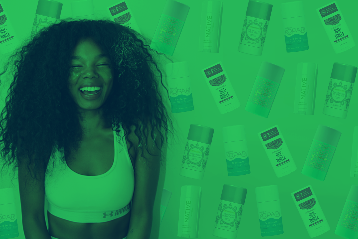Woman wearing sports bra on green deodorant background