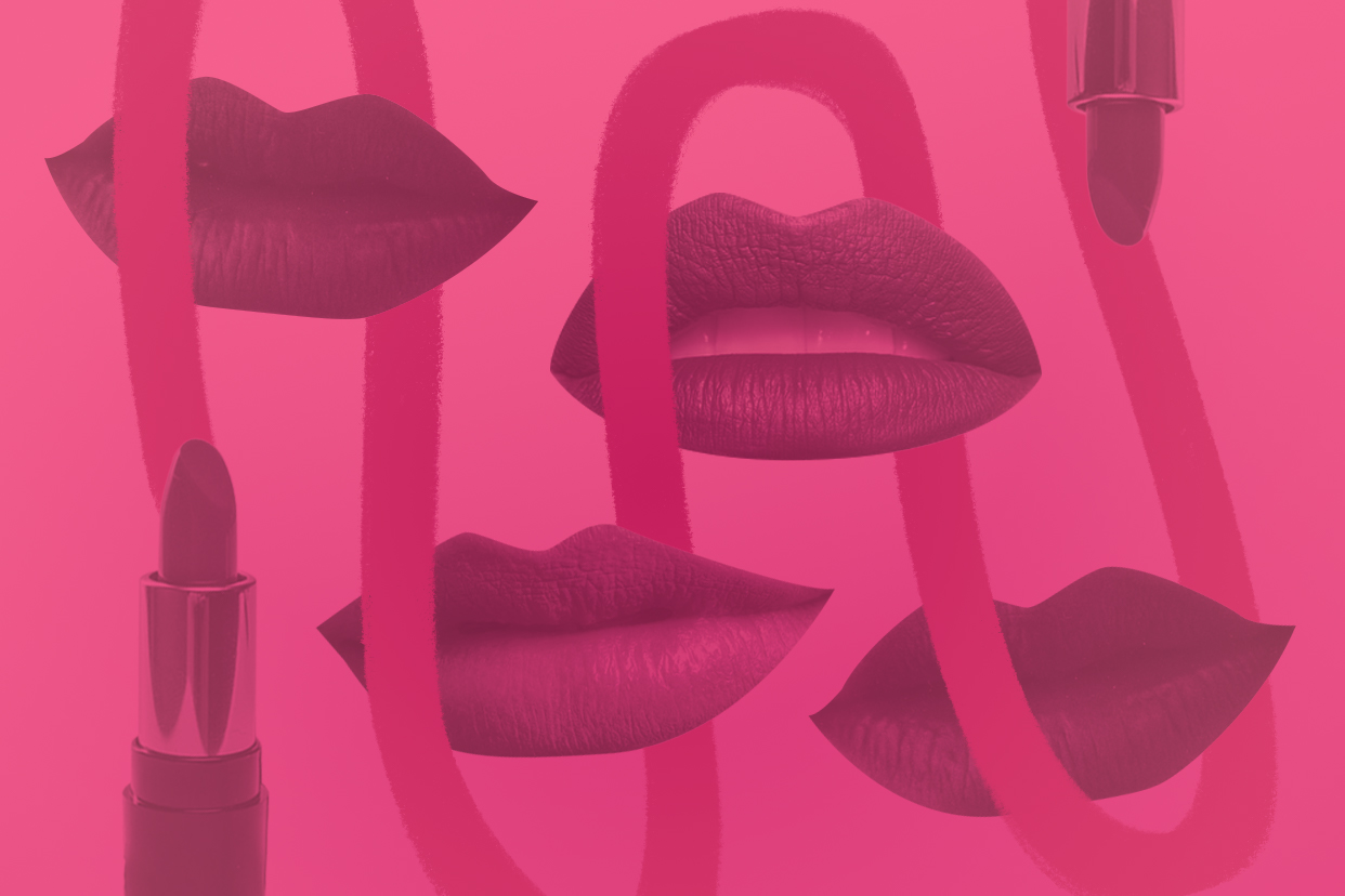 Lips and lipsticks on a pink background