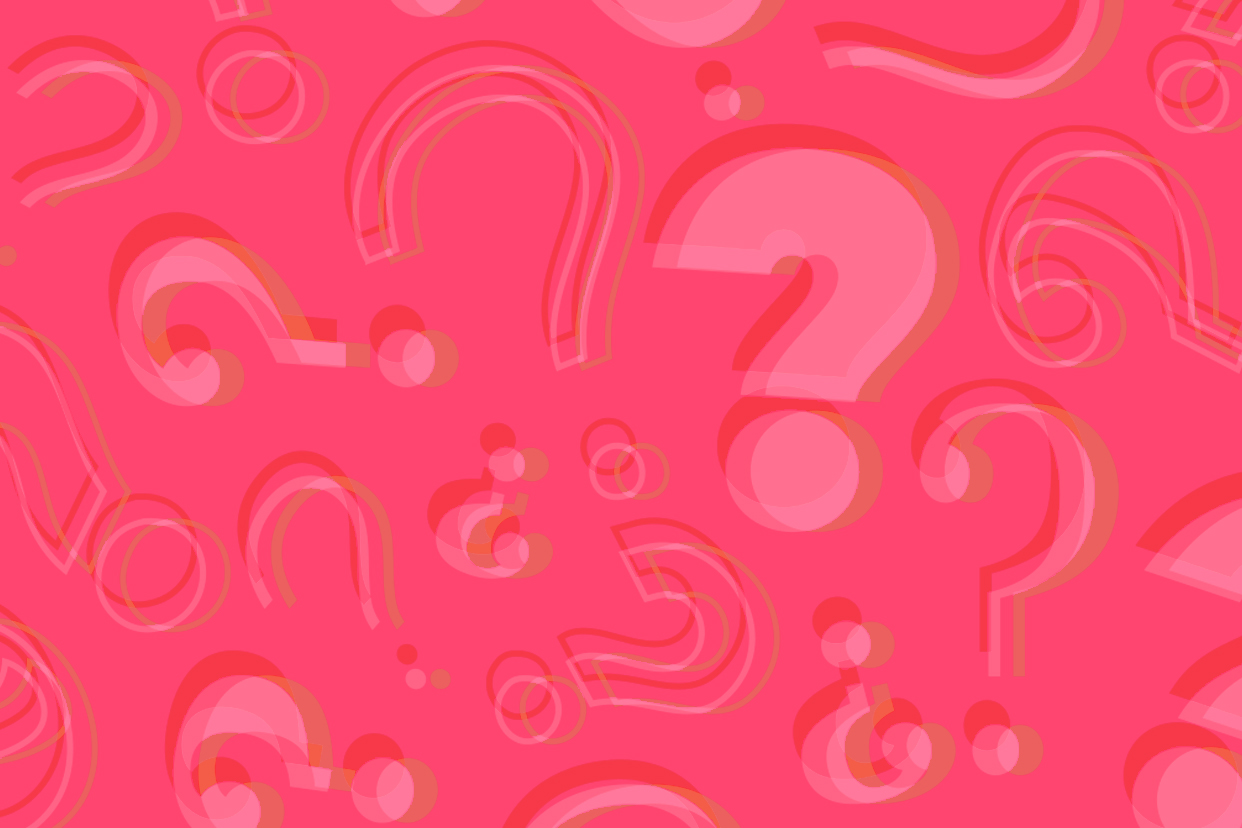 Question marks scattered around a pink background