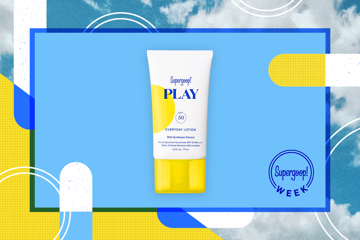 Supergoop PLAY Everyday Lotion on a sunny background