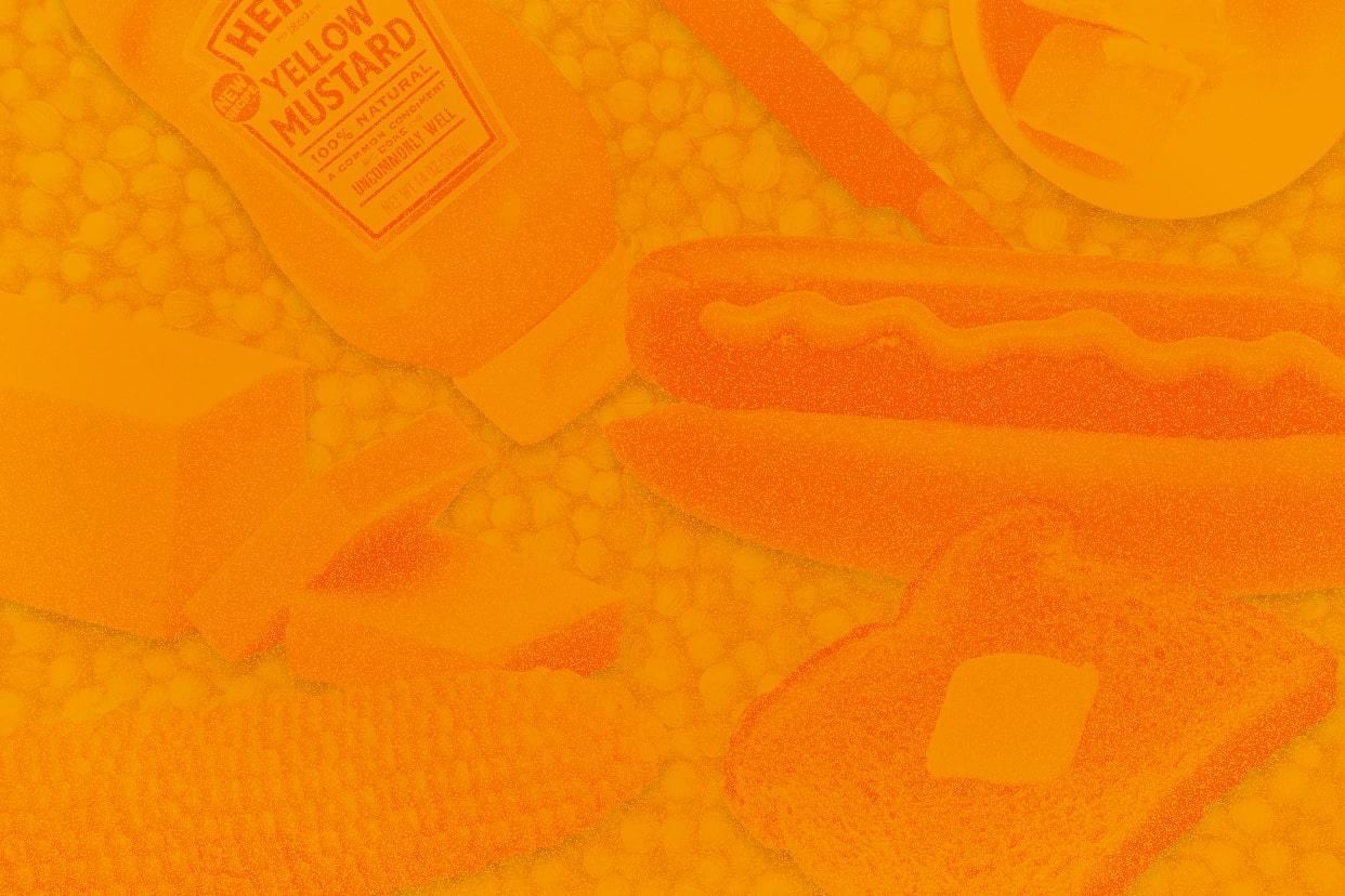 mustard and margarine on an orange background