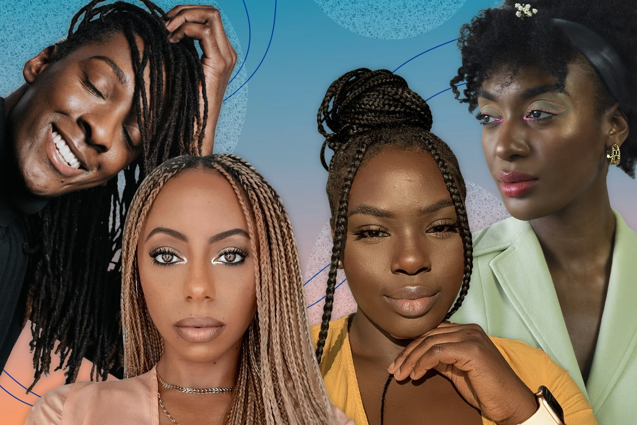 Beauty influencers on a colorful background