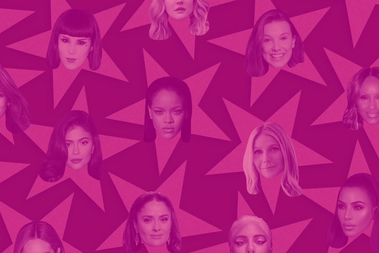Celebrities on a pink starry background