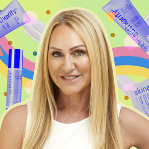 Skin Authority Founder Celeste Hilling surrounded by her products