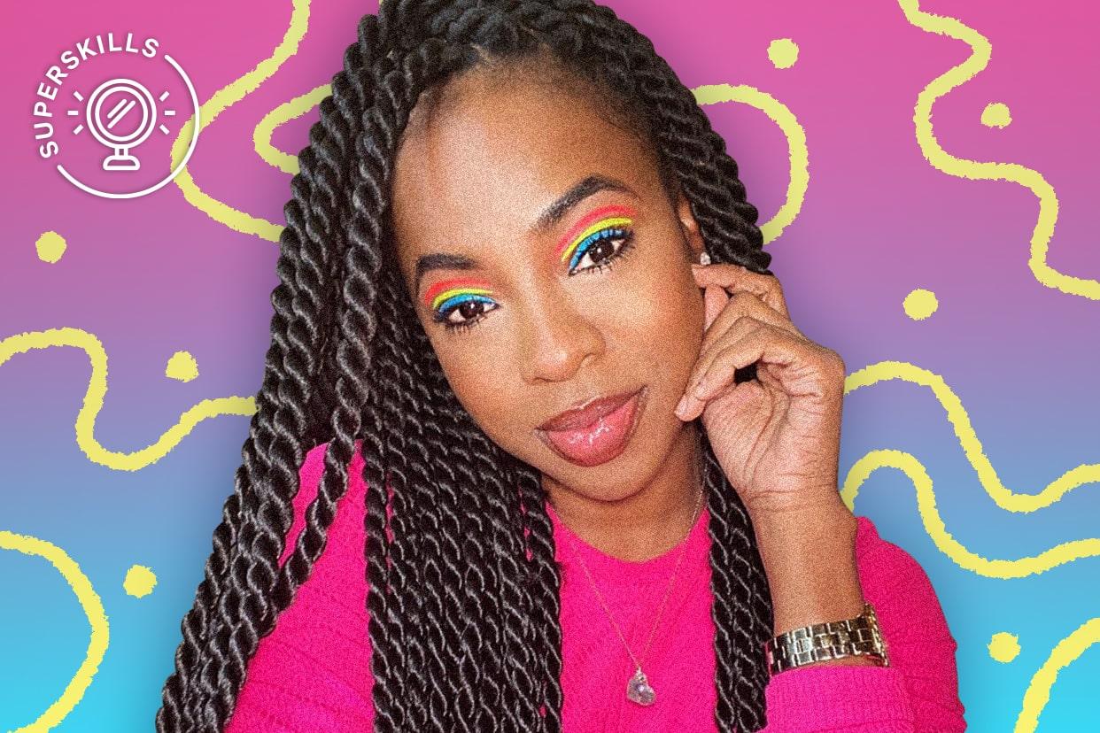 Makeup artist Jaleesa Jaikaran in a rainbow eye look