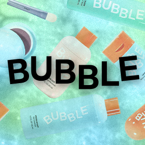 Bubble skincare brand logo and products