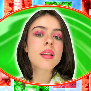 Beauty editor in watermelon inspired makeup