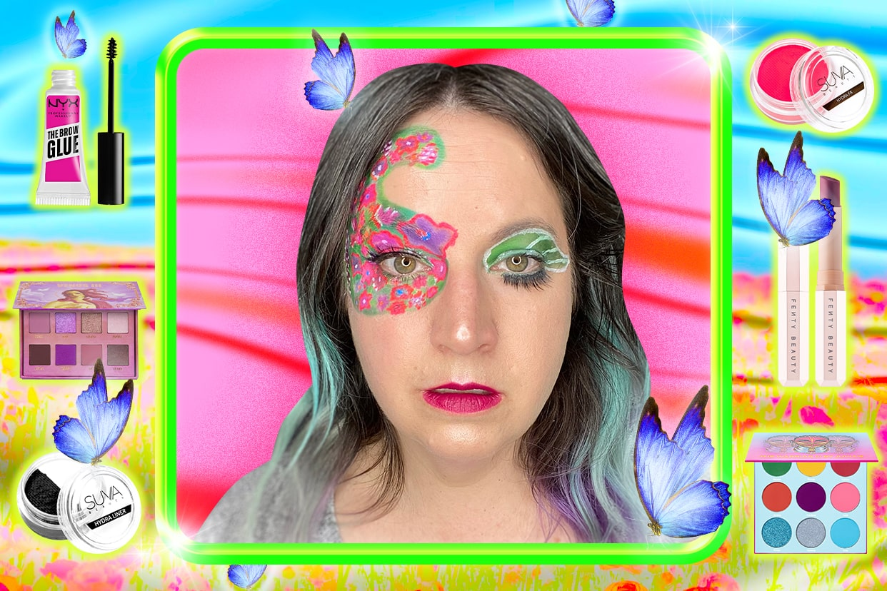 Supergreater in a full face of colorful makeup