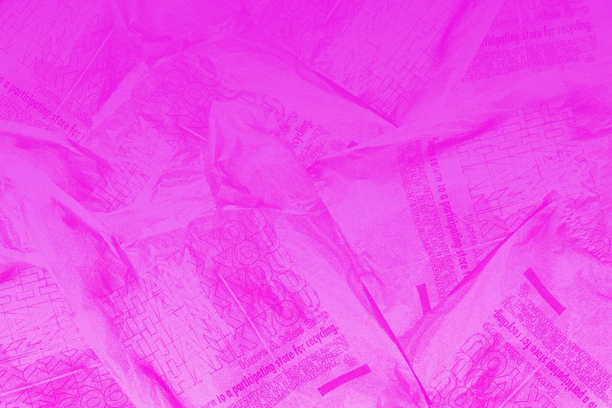a pink background with shopping bags