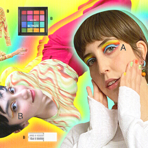 retro style catalogue with colorful makeup