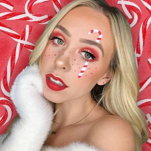 Makeup artist ember Johnson in Holiday makeup