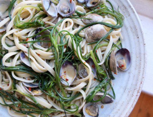 Recipe: Spaghetti with Agretti, Clams and White Miso #PASTA | #GNOCCHI | #NOODLES | #DUMPLINGS