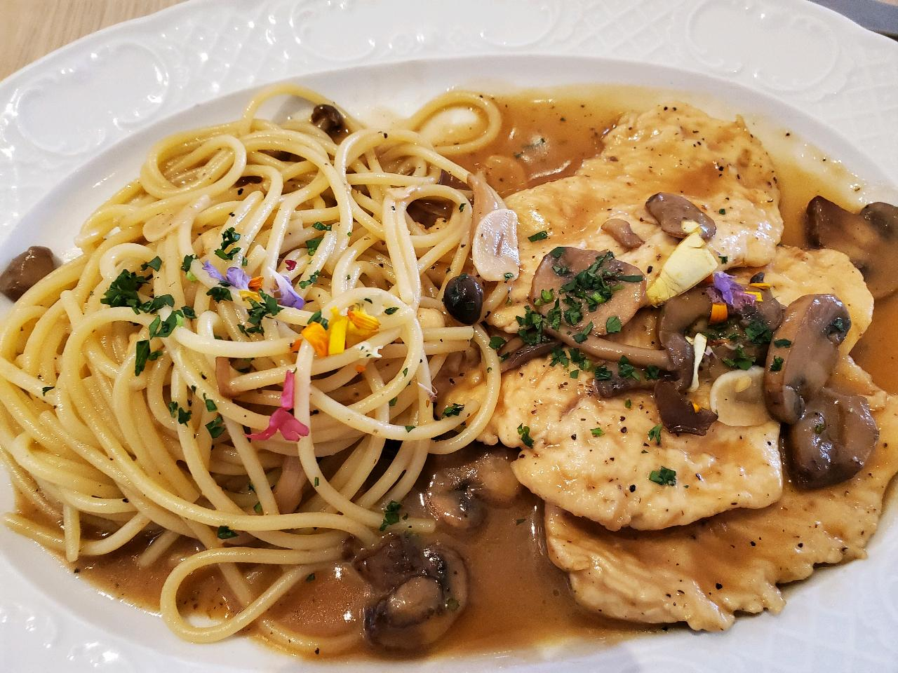 Chicken Marsala, and for dessert.  Tiramisu.  Always a good dessert.  #ItalianFood