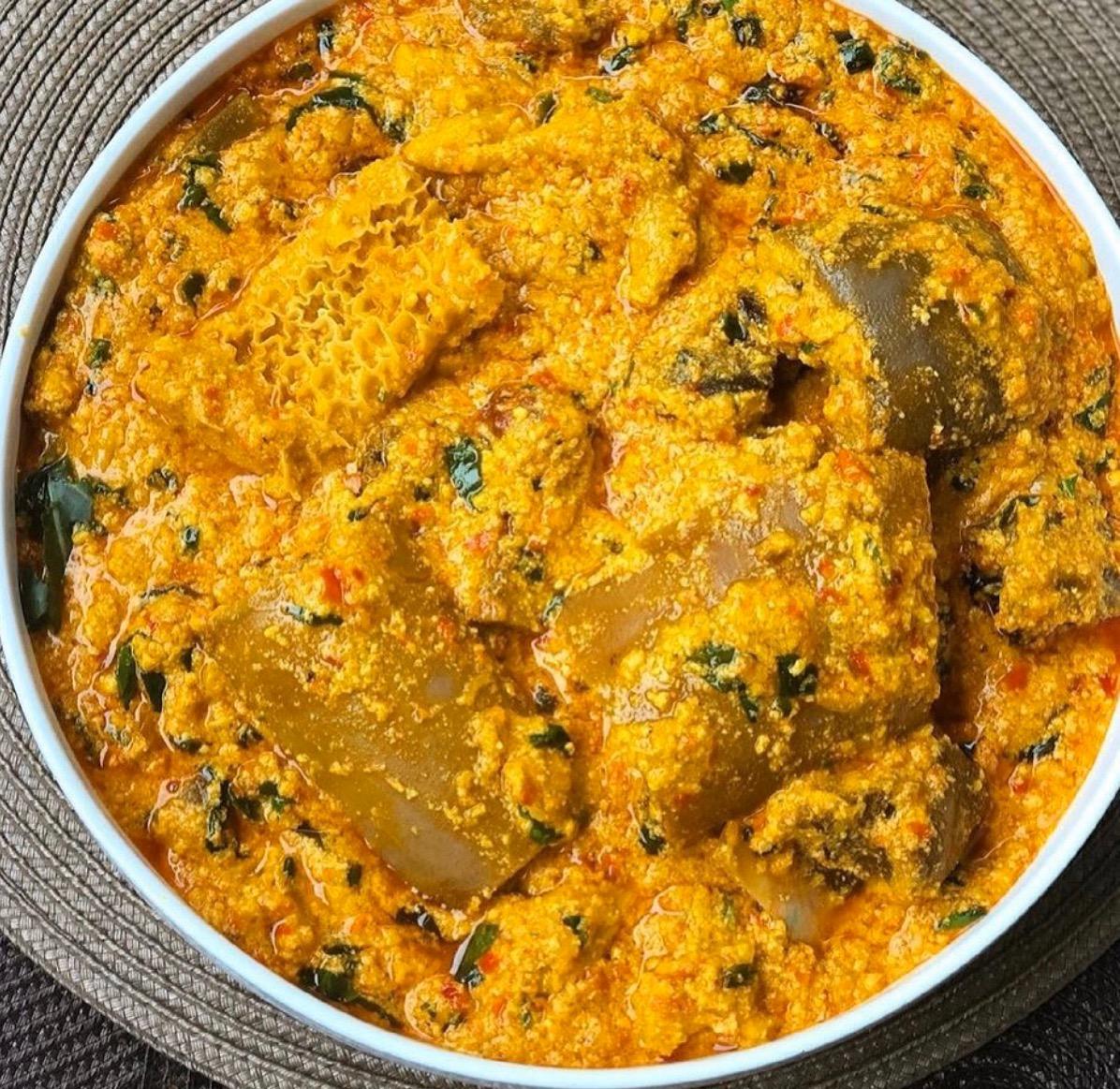 #cookingrecipehq  EGUSI SOUP   INGREDIENT   egusi -caryfish- maggi-  salt-  pepper- palmoil -ugwu- shaki -pomo-seasoning