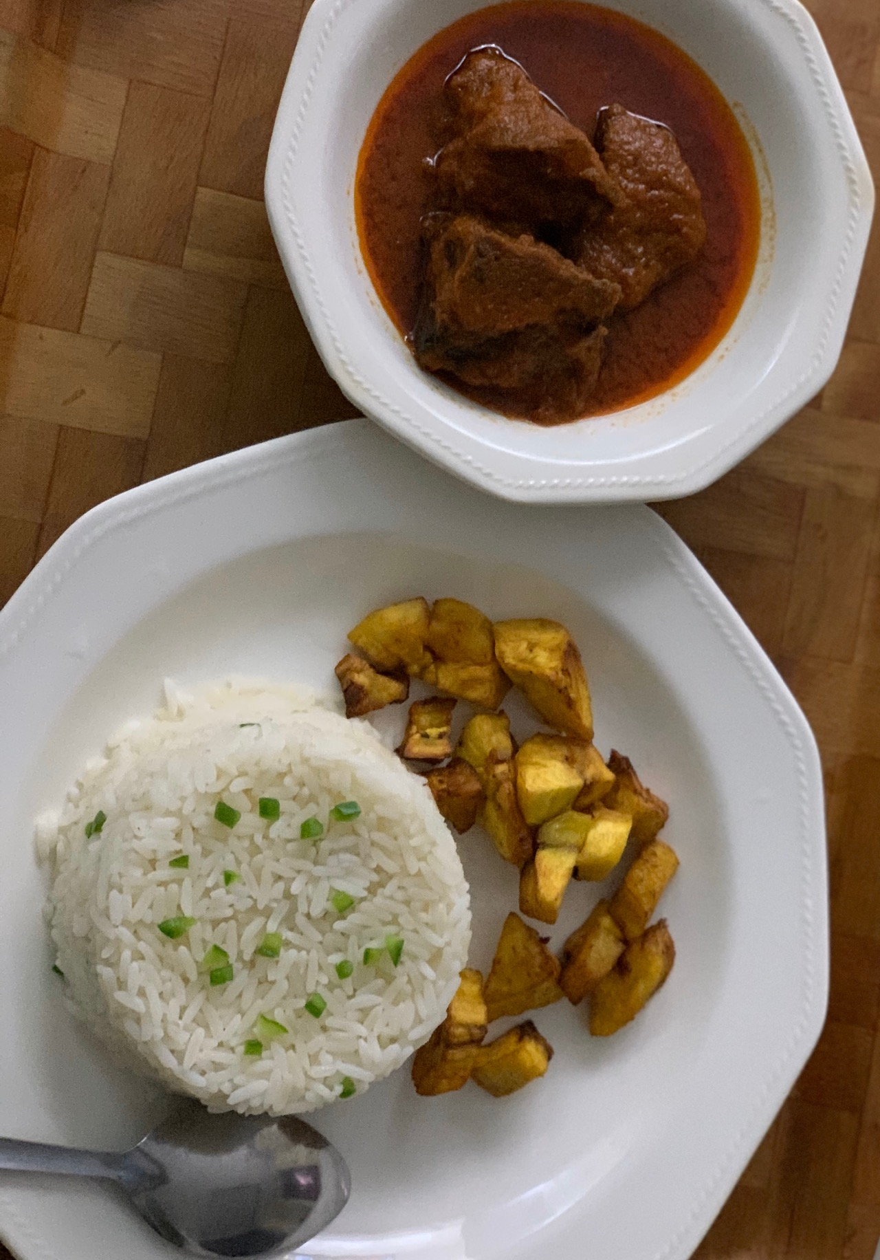 #cookingrecipehq rice ,plantain with cow meat stew😍😍😘