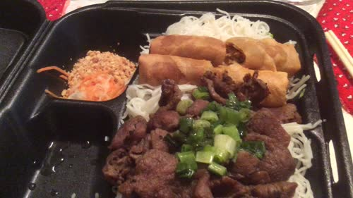 Vietnamese egg roll & BBQ pork with vermicelli rice bún chả giò thit nuong