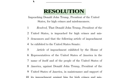 [ G E T } articles of impeachment 2021 pdf of Donald J. Trump 45th president of the USA