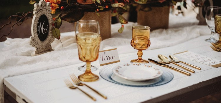 Formal table setting with calligraphed name tag