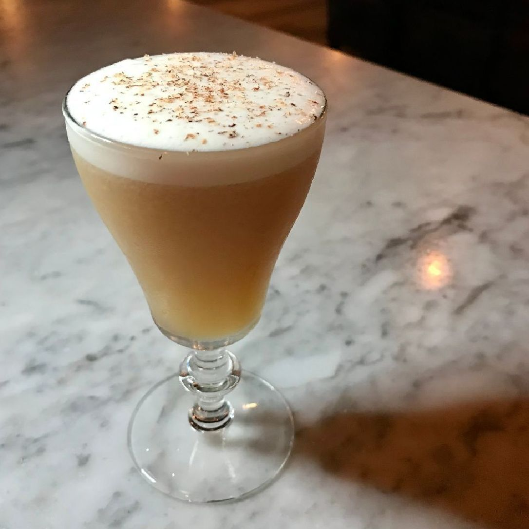 """Cocktail Diary: January 12th, 2019. 12:00am """"I've been obsessed with mixing scotch and banana. Tonight, I made my picky coworker gasp and say """"WOW."""""""