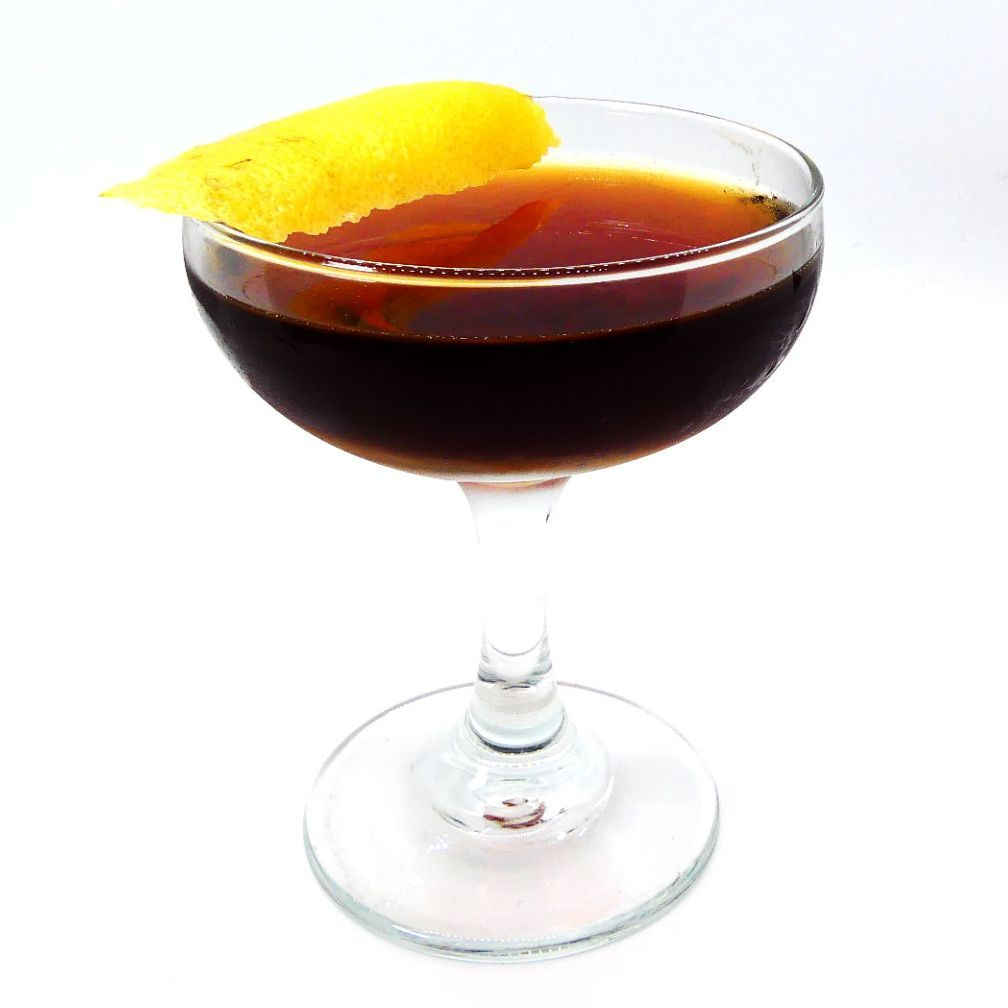 Years ago I was asked to consult on a classic cocktail menu for a Steakhouse. Along with known drinks I really wanted to create a signature drink that was a tribute to the histroy of the place. Trying to channel drink styles like Manhattans, Negronis, and Sazeracs, I created this and called it 'The 55'. While the presentation went well, and the Steakhouse rolled out my menu, the only change the made was not to include this drink.   I returned to work at Napa Rose and began serving this drink to my guests. It became loved and each time it stung just a little bit. One night, Matt 'Rumdood' Robold came in and enjoyed the drink. We commiserated on how sad it was that the Steakhouse decided not to serve the drink. Their loss! At least it was being enjoyed, but it needed a new name.  That night, about 2:30 in the morning, Rumdood sent me a text.