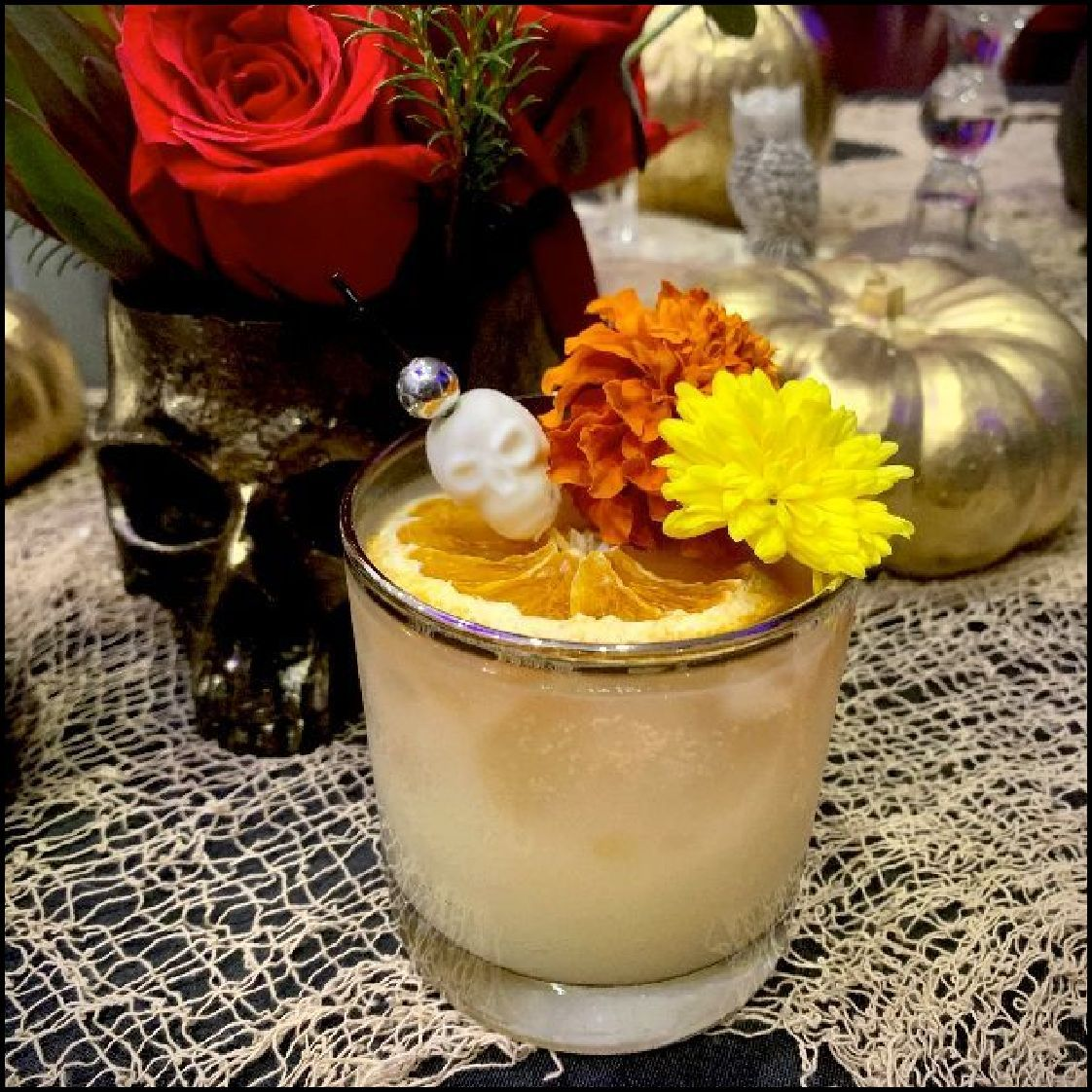 I wanted to dedicate this cocktail to my grandparents, who have all since passed (two passed this year). It's tradition that, on Dia De Los Muertos, Marigolds were used to guide spirits to the Offrenda, using their vibrant colors and aromatic scent. To keeping with tradition and to honor their lives...Here's to Mis Abuelos.