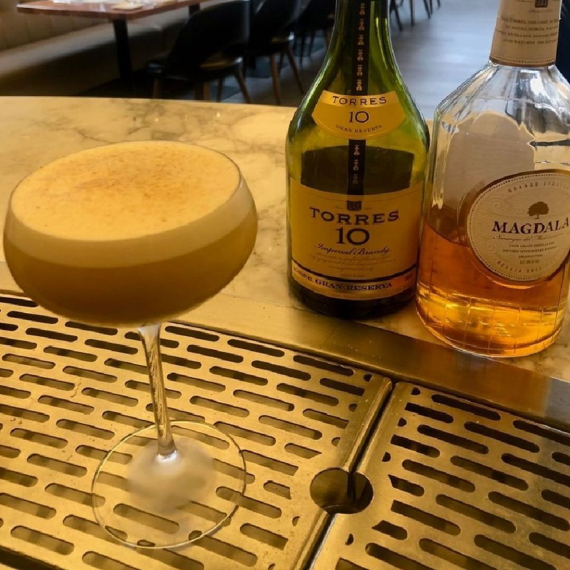 I was reading through a classic cocktail recipe book and came across a flip. I love anything egg related and really wanted to recreate a version of this adventurous and rich cocktail. After a particularly busy night at work, falling asleep can be hard, so I decided to listen to a sleep story called something like, Moroccan Nights. Needless to say, I fell asleep dreaming about delicious figs and savory spices. Side note, this also prompted the idea for the name Marrakesh Express, which is also a great song by Crosby, Stills and Nash. The Torres brandy and orange liqueur were a match made in heaven and worked along nicely with slight fruit forwardness of the fig syrup. To top it all off with a tart and effervescent Prosecco hits the spot and the nutmeg ties it all together. I found myself making believers of drinking a whole, raw egg because this drink is so damn good. And has a lot of protein to boot.  *Skin figs and blend, add equal parts sugar and water, strain.