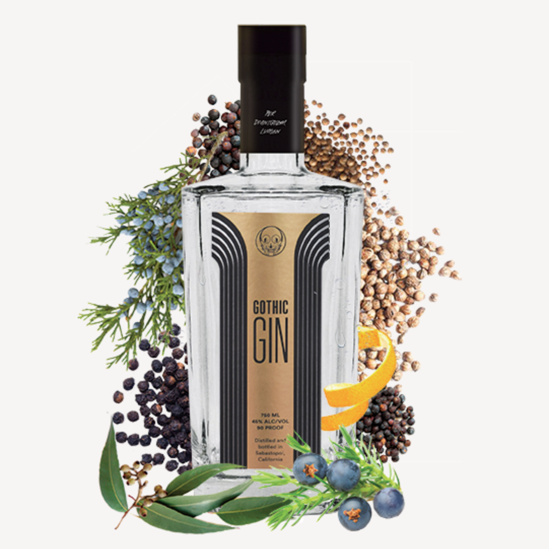 Gothic Gin delivers distinct, clean botanicals. It was created in Barcelona, Spain and captures the spirit of the Gothic Quarter. Its bouquet conjures a lively fragrant nightlife, while the taste invites a subtle, relaxed finish.   Gothic Gin follows a London Dry methodology with a vapor infusion of eucalyptus and Valencia orange peel from which it derives its unique flavor. The addition of peppercorns balaces out the flavor for a smooth finish. The juniper berries and other botanicals usd in Gothic Gin are handpicked, handcrafted, and sourced from the finest organic ingredients available.   Gothic Gin was the World Gin Awards 2019 Gold Medal winner and is the 2020 Category Winner for Best Contemporary Style Gin from the United States of America.